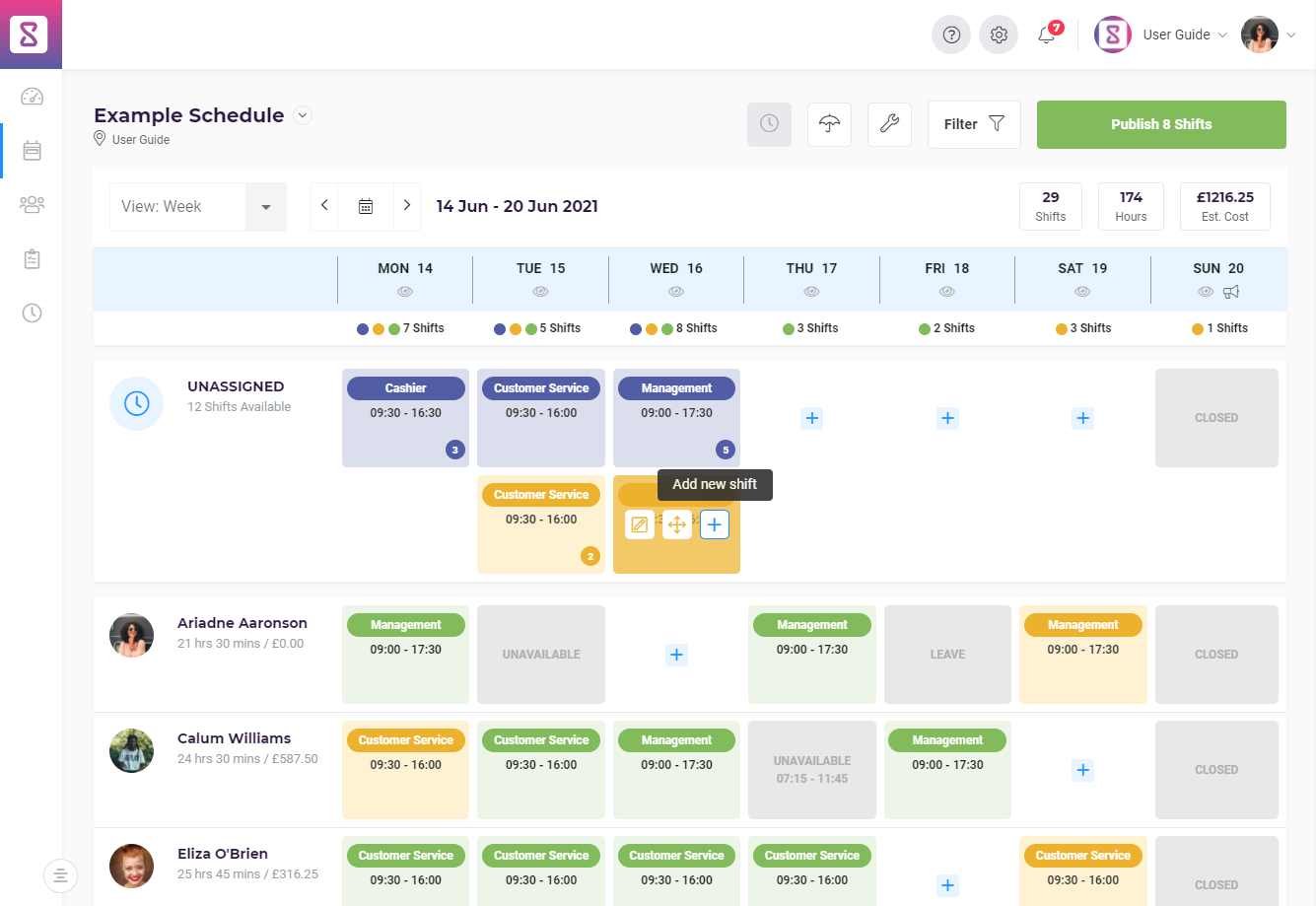A schedule created on Shiftie with a combination of assigned, unassigned, and unpublished shifts
